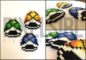 Koopa Troopa Shells Perler Bead Art - Mario by pixelsirl