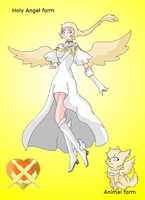 Goddess Light Wolfen and her Holy angel form by HeroHeart001
