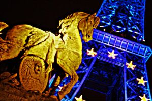 Eiffel tower and an horse by HairJay
