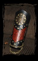 leather bracer steampunk by Lagueuse