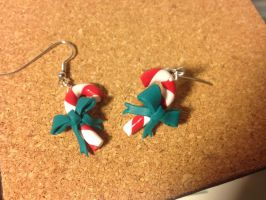 Christmas earrings - Candy Cane with Bow by Fibulah