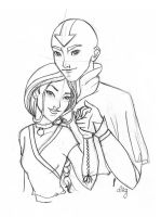 Aang and Katara Older by SwissDutchess