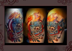 lighter and skull tattoo color by marcossangre