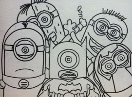 Outline for Despicable Me Batman n Villains by sampson1721