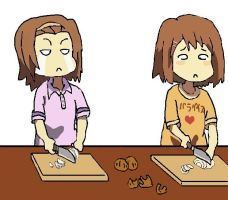 Yui and Ritsu cutting onions by XxLuuLixX
