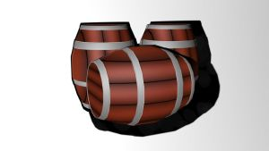 Low poly textured barrels by NajoArt