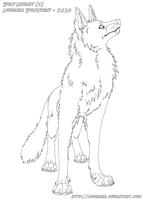 Free lineart- Wolf standing by Lougaria