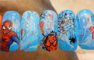 Spiderman Nail Art by Jutamart