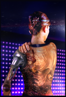 Model cyborg with an illegal tattoo by Xdeathwingx
