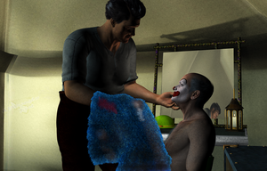 Inside Sad Clown Theo,2: a painted grin (updated) by vwrangler