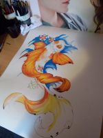 Koi painting in progress by AmyPond11