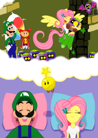 Fluttershy and Luigi: Dream Team by BBBHuey