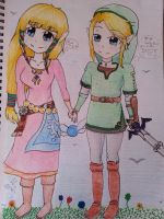 Zelda and Link ~ by Abi-Berry