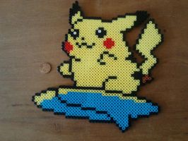 Surfing Pikachu Perler by Perler-Pop