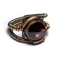 Steampunk Burgundy Ring by CatherinetteRings