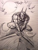 Batman Perched (ball point pen study) by myconius