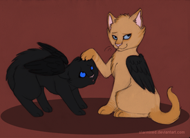 Lucifur and Catsiel by starmixed