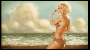Playmate painting Vintaged by CapMoreno