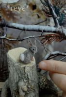 Miniature Cottontail Rabbit * Handmade Sculpture * by ReveMiniatures