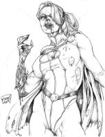 WIP: Zombie Power Girl by mach1neman
