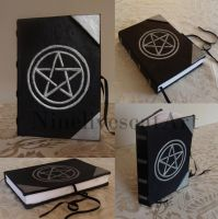 Leather Notebook With Pentagram by NinelivescatArt