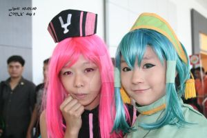 pink and green girls by jycll