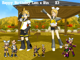 Happy Birthday Len and Rin XP by MoonwolfYouthOtaku