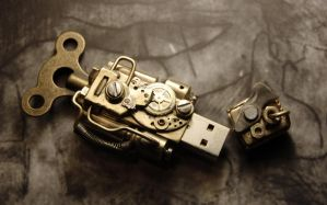Steampunk USB Flash drive by cybercrafts