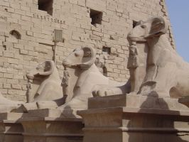 Statues At Karnak Temple by DragonWhisperer1