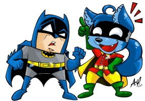 Batman e Duh.Art trade by TOONAMIX