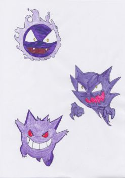 Ghastly, Haunter + Gengar by sezzac155