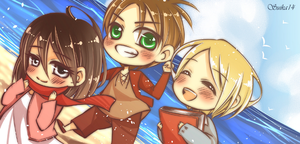 SnK: Beach Trio by yummy-suika
