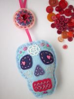 Sugar Skull Wall Hanging Felt by lovarevolutionary