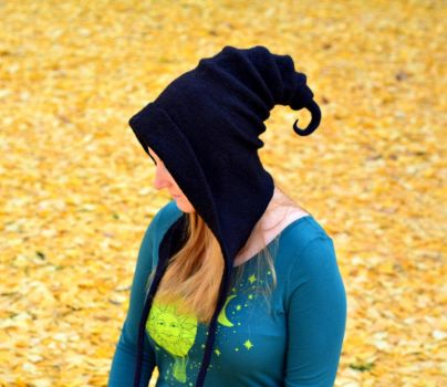 Black Pixie Hood by HandiCraftKate