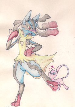 Mega Lucario and Mew by IcyBloodRaven