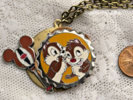 Disney Steampunk Chip and Dale Necklace Pendant by elllenjean