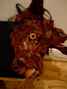 hobby horse, left face detail. by lidlewing