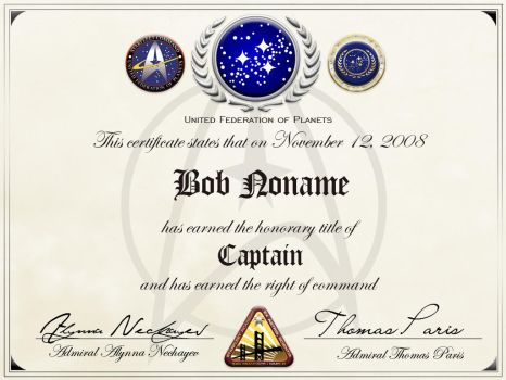 Starfleet honorary captainship by Balsavor