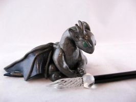 Gunmetal Dragon Pen Holder by HideyHoleInn
