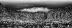 The Storm Above the Red Cliffs BW by mjohanson