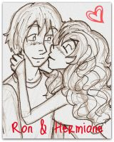 Ron and Hermione Kiss on the Cheek by Disney-Sarah