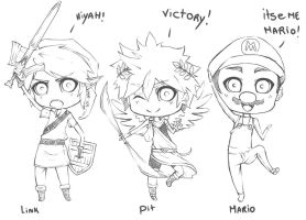 favorite Nintendo character chibi version sketches by kimbolie12