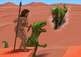 Cavewoman and dinosaurs by Nick-Perks