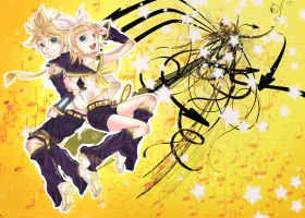 Vocaloid - Rin and Len by Harayarin