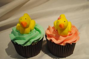ducky cupcakes by starry-design-studio