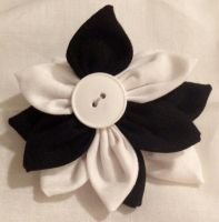 Black and White Fabric Flower Hair Barrette by jenlucreations