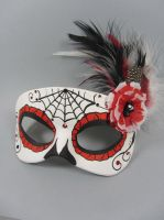Deluxe Red Day of the Dead leather mask by maskedzone