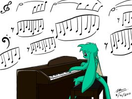 Playing my piano by MarwanGreenCritter