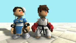 LBP Ryu and Chun Li by SpongeDudeCoolPants