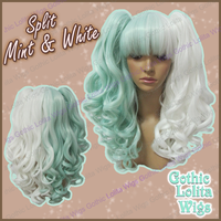 Split Wig - Mint + White by GothicLolitaWigs